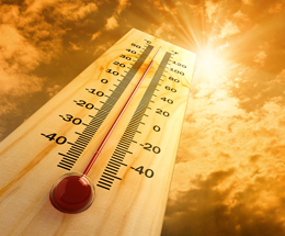 thermometer and sun