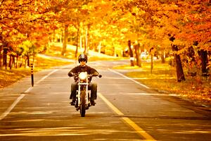 Fall ride on motorcycle